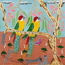 Iris Frame (1915-2003) Parrots oil on masonite,