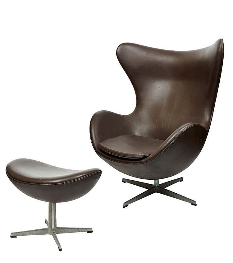arne jacobsen danish 1902 1971 egg chair and footstool. Black Bedroom Furniture Sets. Home Design Ideas
