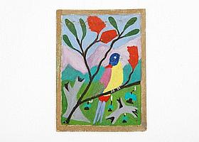 Iris Frame (1915-2003), Parrot on a Branch, oil on