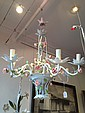 Italian Hand Painted Floral Chandelier, c. 1960