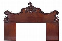 LARGE ANTIQUE CARVED MAHOGANY SCROLL PANELLED HEADBOARD