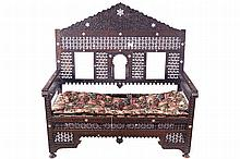 NINETEENTH-CENTURY OTTOMAN CARVED AND IVORY INLAID HALL SEAT
