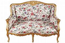 PAIR OF LOUIS XV STYLE CARVED GILTWOOD SETTEES