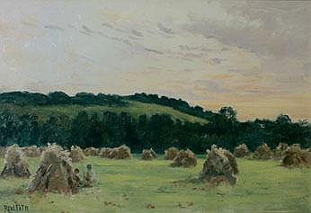Maurice Rene Fath 1850-1922 Haystacks Signed oil
