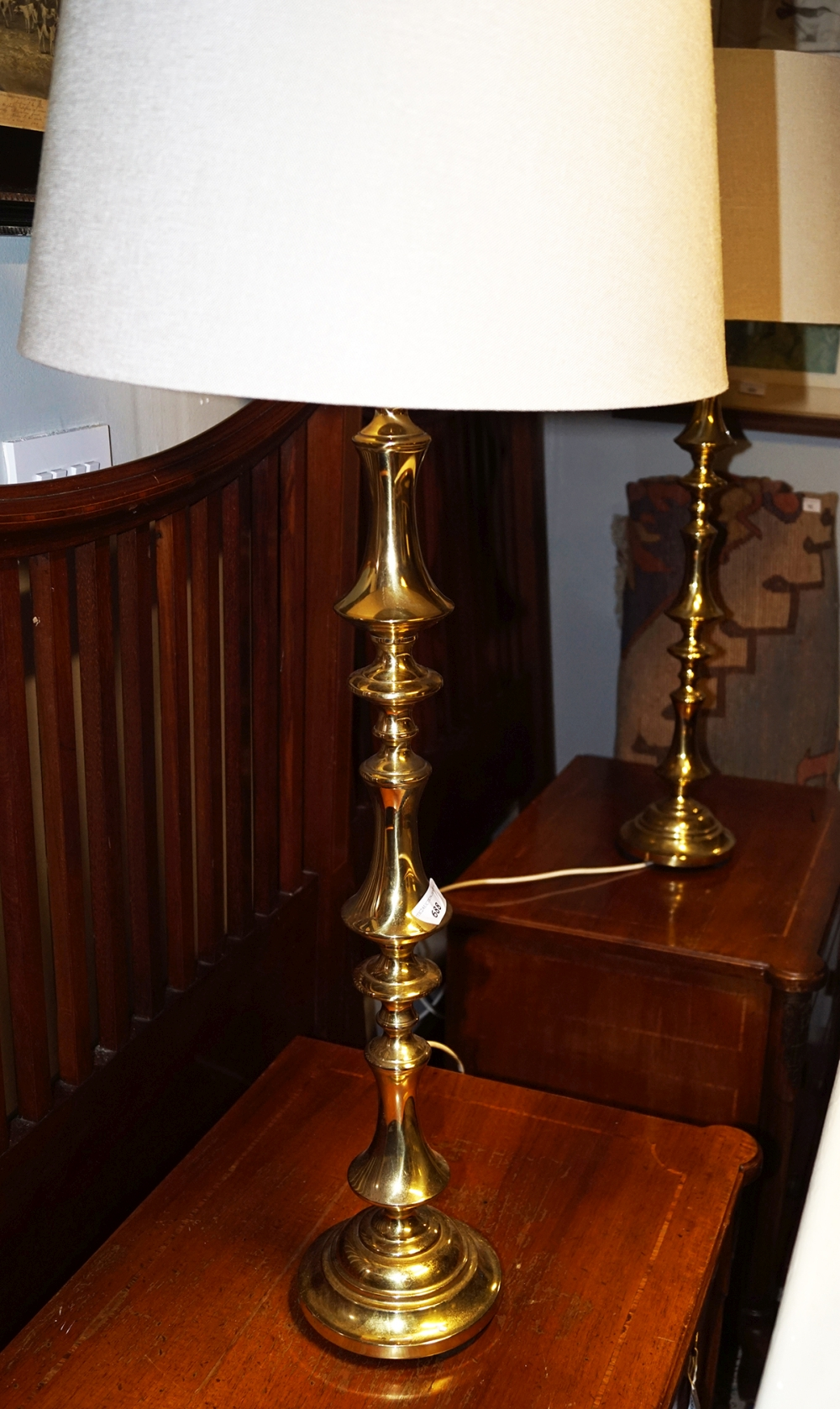 Pair Of Large Brass Table Lamps And Shades