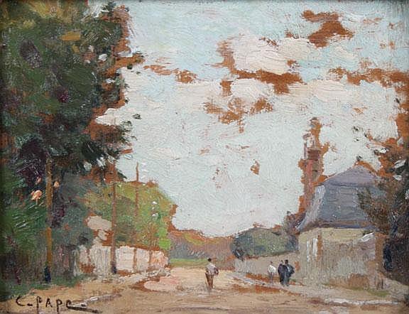 Charles Pape 1865-1920 Street scene Signed oil on