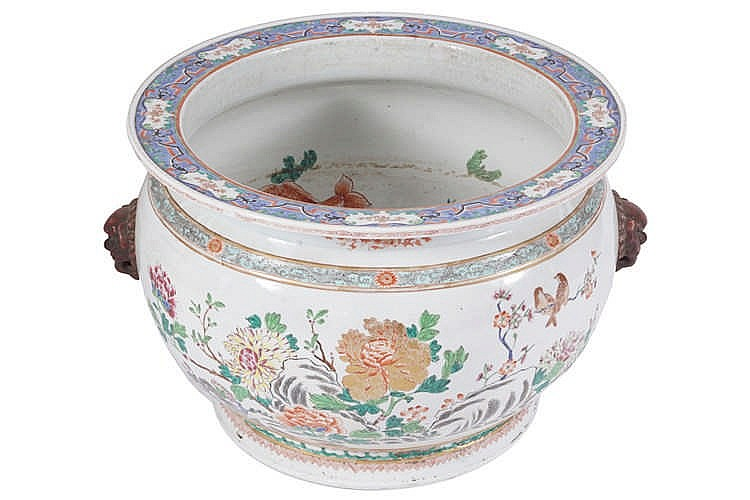 Large chinese qing period famille rose fish bowl for Large fish bowl