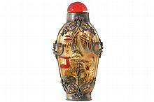 METAL MOUNTED CHINESE INSIDE PAINTED SNUFF BOTTLE