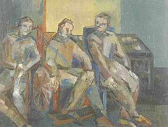 Nancy Ewart, circa 1950 Figures Signed oil on