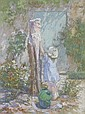 Loys Prat (1879-) Girl by water pump Signed oil on