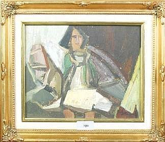 Paul Daviaud, 1910- Post Cubist Study of a lady in an interior Signed oil on board 20 x 25 cms.