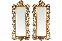 PAIR NINETEENTH-CENTURY CARVED GILT WOOD  FLORENTINE PIER MIRRORS