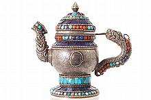SINO-TIBETAN CORAL AND TURQUOISE INLAID SILVER WATER POT