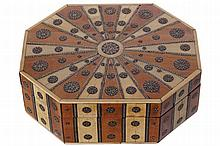 NINETEENTH-CENTURY INDIAN IVORY AND SANDALWOOD BOX AND COVER
