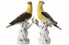 PAIR OF MEISSEN POLYCHROME PORCELAIN BIRDS