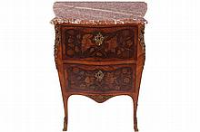 NINETEENTH-CENTURY ORMOLU MOUNTED KINGWOOD AND MARQUETRY COMMODE, CIRCA 1870