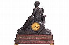 FRENCH EMPIRE PERIOD MARBLE AND BRONZE MANTEL CLOCK, LOUIS MALLET (FL. 1790 -1824)