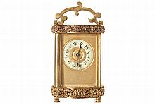 NINETEENTH-CENTURY FRENCH GILT BRONZE FRAMED CARRIAGE CLOCK