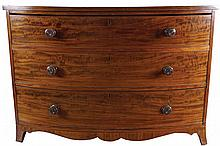 GEORGE III PERIOD MAHOGANY BOW FRONT CHEST, CIRCA 1800
