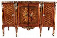 LOUIS XV PERIOD KINGWOOD, PARQUETRY AND MARQUETRY COMMODE, CIRCA 1770