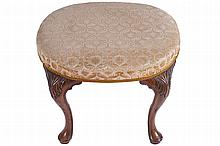 ANTIQUE CARVED WALNUT AND UPHOLSTERED STOOL