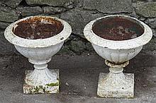 PAIR NINETEENTH-CENTURY CAST IRON URNS