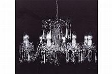EIGHT BRANCH WATERFORD CRYSTAL CHANDELIER