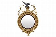 REGENCY PERIOD GILT FRAMED CONVEX WALL MIRROR, CIRCA 1810