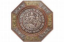INDO-PERSIAN BRONZE AND SILVER  INLAID CHARGER