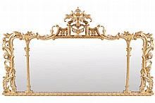EIGHTEENTH-CENTURY PERIOD CARVED GILT FRAMED OVER MANTLE MIRROR
