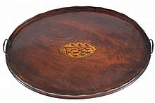 GEORGE III PERIOD MAHOGANY AND SATINWOOD INLAID SERVING TRAY