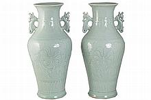 PAIR OF LARGE CHINESE QING PERIOD MONOCHROME CELADON GLAZED VASES