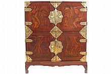 NINETEENTH-CENTURY JAPANESE MEIJI PERIOD BRASS MOUNTED CABINET ON STAND