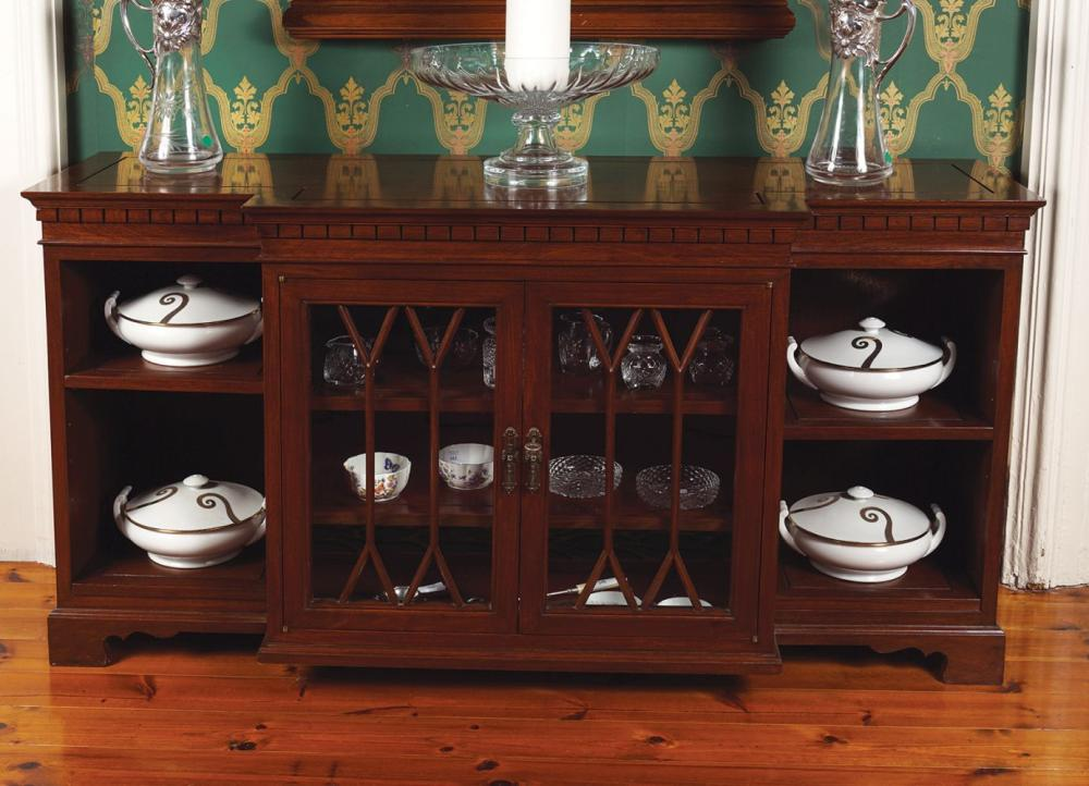 CHINESE HARDWOOD BREAKFRONT LOW BOOKCASE