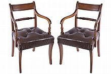PAIR OF CORK REGENCY PERIOD MAHOGANY LIBRARY CHAIRS, CIRCA 1820