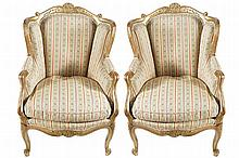 PAIR OF NINETEENTH-CENTURY GILT FRAMED AND UPHOLSTERED WING BACK ARMCHAIRS