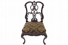 NINETEENTH-CENTURY CARVED MAHOGANY CHIPPENDALE SIDE CHAIR