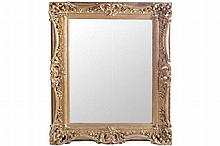 NINETEENTH-CENTURY ROCOCO CARVED GILT WOOD FRAMED MIRROR