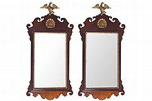 PAIR OF NINETEENTH-CENTURY MAHOGANY AND PARCEL GILT FRETWORK FRAMED MIRRORS