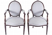 PAIR OF GEORGE III PERIOD HEPPLEWHITE ELBOW CHAIRS, CIRCA 1790