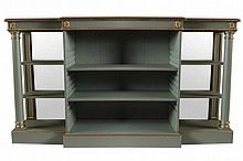 REGENCY PERIOD BREAKFRONT PAINTED AND PARCEL GILT  DWARF OPEN BOOKCASE