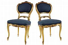 PAIR OF NINETEENTH-CENTURY GILTWOOD SIDE CHAIRS