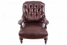 NINETEENTH-CENTURY SCROLL BACK LIBRARY CHAIR