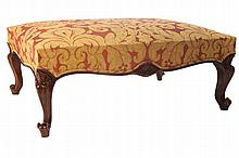 LARGE MAHOGANY AND UPHOLSTERED STOOL