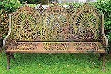LARGE CAST IRON GARDEN BENCH