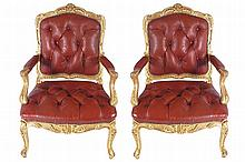 PAIR OF NINETEENTH-CENTURY LOUIS XV STYLE CARVED GILT WOOD ARMCHAIRS