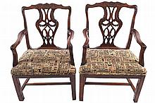 PAIR OF EIGHTEENTH-CENTURY CHIPPENDALE ELBOW CHAIRS, CIRCA 1760