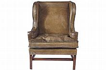 EIGHTEENTH-CENTURY PERIOD CHIPPENDALE LEATHER WING BACKED ARMCHAIR, CIRCA 1770