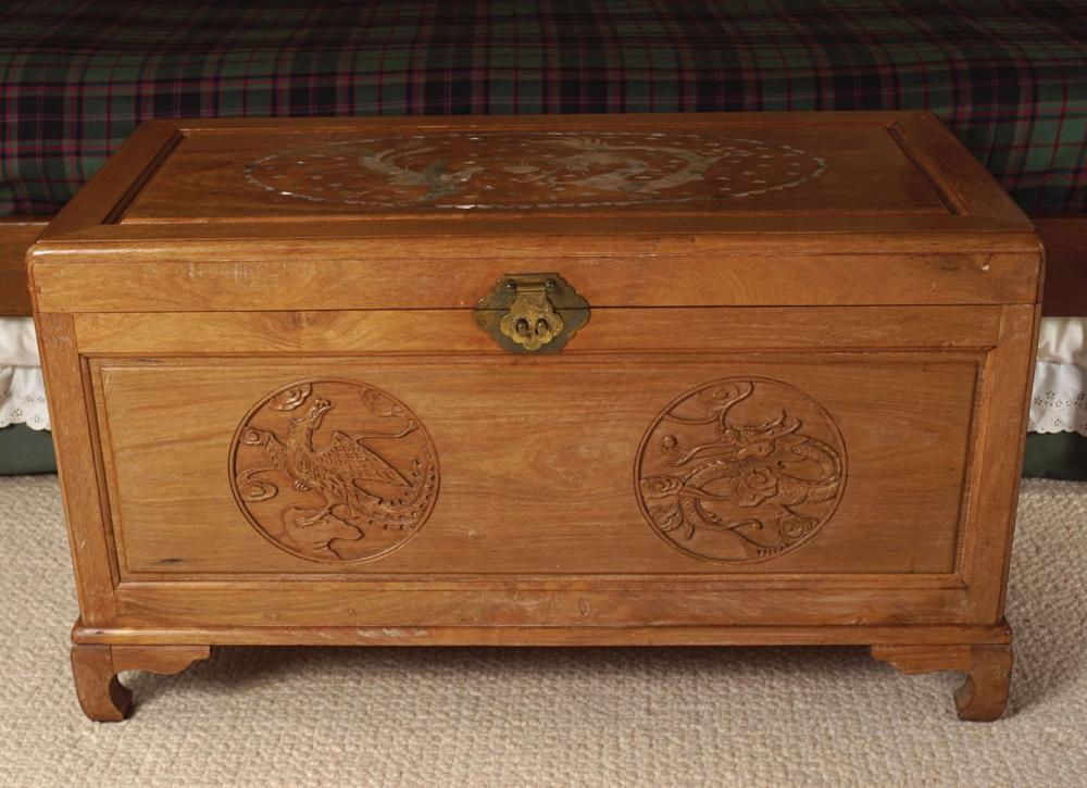 CHINESE HARDWOOD AND MOTHER O'PEARL INLAID TRUNK