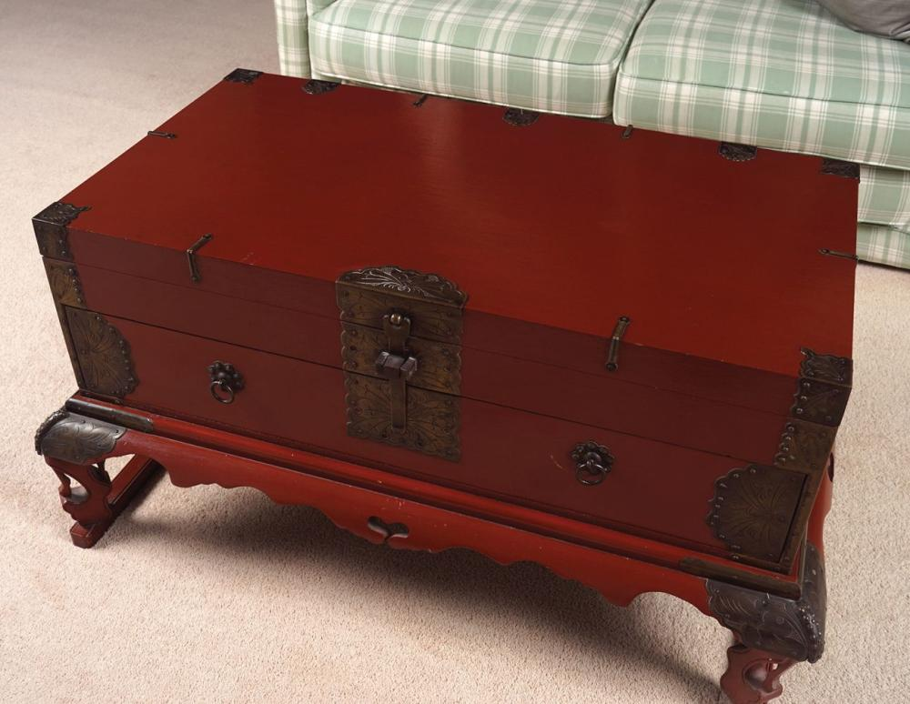 PAINTED CHINESE BRASS BOUND TRUNK